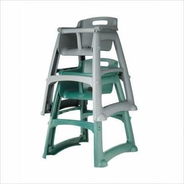 Sturdy High Chair with Wheels (Dark Green)