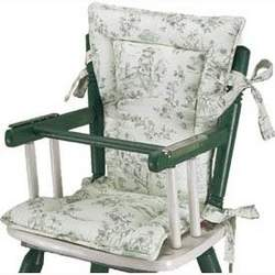 High Chair Cushions w/ Cording - Color Green Toile