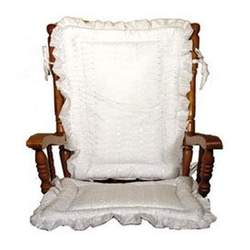 White Eyelet High Chair Pad with Ruffle