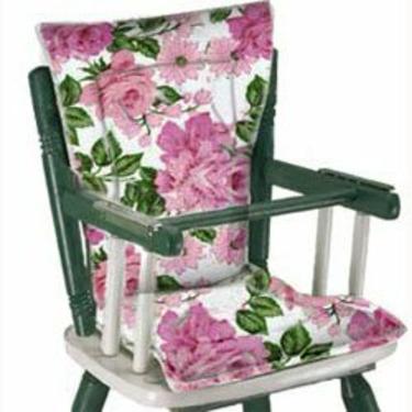 Easy-To-Clean High Chair Cushion/Green Gingham Print