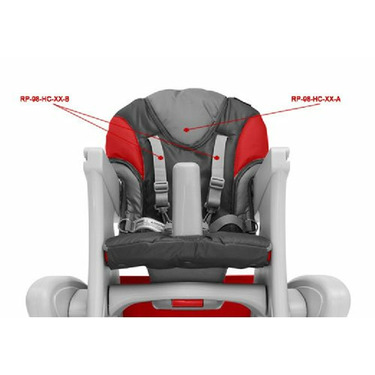 Foundations RP98HCRGA Transitions High Chair Replacement Seat Pad - Red and Gray