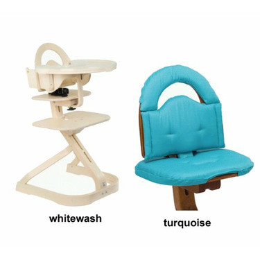 Svan High Chair from Scandinavian Child with Infant Kit and Cushion, Turquoise Cushion in Whitewash Wood
