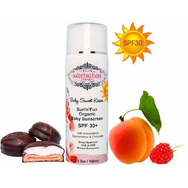 Baby Sweet Kisses Sun'n'Fun Organic Baby Sunscreen SPF 30+, with Antioxidants, Marshmallow and Chocolate