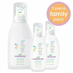 "Soapopular Brand Alcohol Free SAFER4KIDS Foaming Hand Sanitizer ""Family Pack"" - 1 x 550ml and 2 x 100ml"