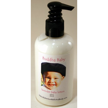 Personalized Buddha Lavender Baby Lotion with pink font on label