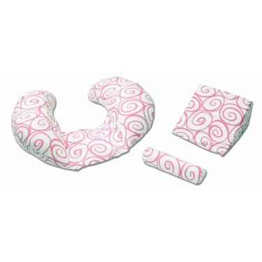 The CozyMe Pillow Retro, Nursing And Infant Development Pillow, Pink Swirl