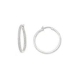 1/2 Diamond 14K White Gold Hoop Earrings