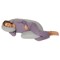 Snoogle Chic Jersey - Snoogle Total Body Pregnancy Pillow with 100% Jersey Cotton Knit Easy on-off Zippered Cover - Heather Gray