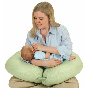 Leachco Two-By-You Adjustable Nursing Pillow, Sage/White dot