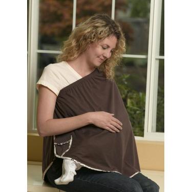 ORGANIC NursEase Breastfeeding Shawl- Organic Large Brown with Floral Trim
