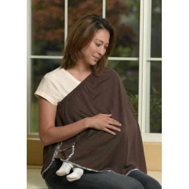 ORGANIC NursEase Breastfeeding Shawl- Organic Medium Brown with Paisley Trim