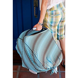 Bristol DRIA Nursing Cover (chocolate brown polka dots on light blue)