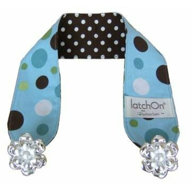 LatchOn Nursing Blanket Strap Dots Blue and Brown