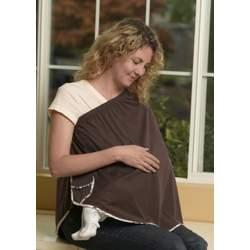 ORGANIC NursEase Breastfeeding Shawl- Organic Small Brown with Floral Trim