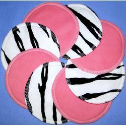 NuAngel Designer Washable Nursing Pads - Pink & Zebra 100% Cotton Made In U.S.A.
