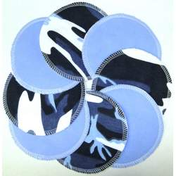 NuAngel Designer Washable Nursing Pads 100% Cotton - Blue & Blue Camo - Made in U.S.A.