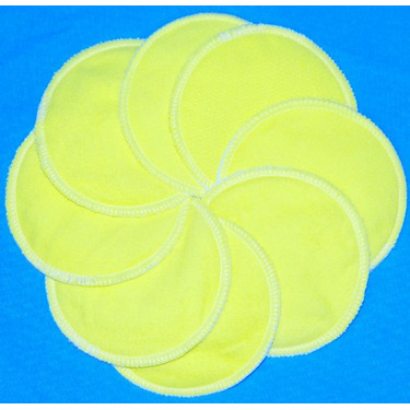 NuAngel Designer Washable Nursing Pads 100% Cotton - Sunshine Yellow - Made in U.S.A.