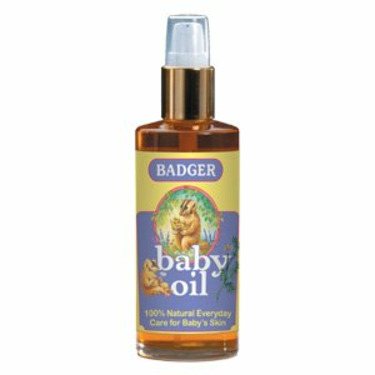 Badger Baby Oil Glass Bottle with Pump Top - Fabulous blends for babies and for anyone with sensitive skin, 4 oz,(Badger Balm)