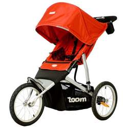 Joovy Zoom ATS Fixed Wheel Jogging Stroller, Red