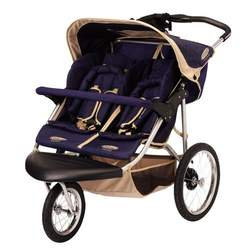 Safari Swivel Wheel Sport Double Stroller - Blue/ Khaki