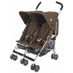 Maclaren Twin Triumph Stroller, Coffee and Silver