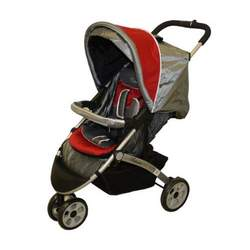 "Dream On Me Lightweight Tripod Style Stroller with ""Peek A Boo"" Canopy, Gray/Red"