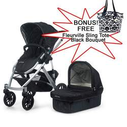 UPPAbaby Jake Black Vista Stroller 2010 with FREE Fleurville Sling Tote Black Bouquet