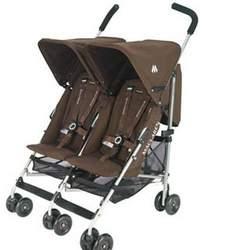 Maclaren Triumph Twin Stroller in Coffee Silver