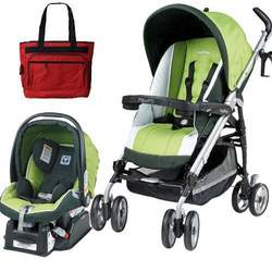 Peg Perego 2010 Pliko P3 Travel System in Kiwi with Free Fashionable Diaper Bag