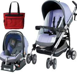 Peg Perego 2010 Pliko P3 Travel System in Lavanda with Free Fashionable Diaper Bag
