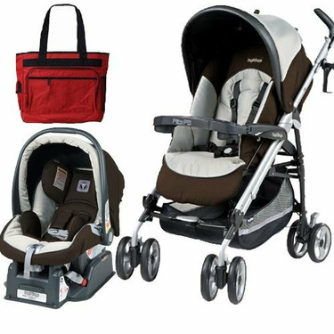 Peg Perego 2010 Pliko P3 Travel System in Java with Free Fashionable Diaper Bag