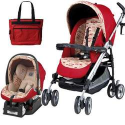 Peg Perego 2010 Pliko P3 Travel System in Red Step with Free Fashionable Diaper Bag