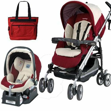Peg Perego 2010 Pliko P3 Travel System in Sophia with Free Fashionable Diaper Bag