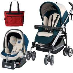 Peg Perego 2010 Pliko P3 Travel System in Marea with Free Fashionable Diaper Bag