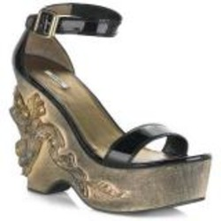 Miu Miu Baroque Black Patent Wedges