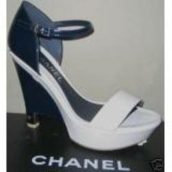 Chanel Navy/White Patent Leather Platform Weges