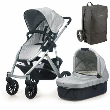 UPPAbaby 0056-MCATB Mica VISTA Stroller - Silver w/ Travel Bag
