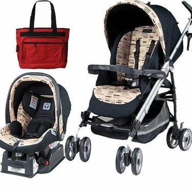 Peg Perego 2010 Pliko P3 Travel System in Black Step with Free Fashionable Diaper Bag