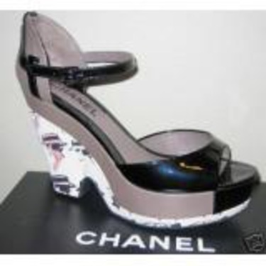 Chanel Black Patent Leather & Cloth Wedges