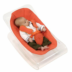 Coco Bloom Plexistyle Transparent Frame Baby Lounger - Harvest Orange (Leatherette) Seat Pad