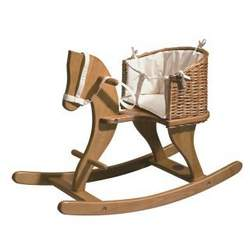 Infant Rocking Horse with Wicker Seat by Moulin Roty