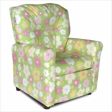 Contemporary Ellie's Garden Green Fabric Kids' Recliner