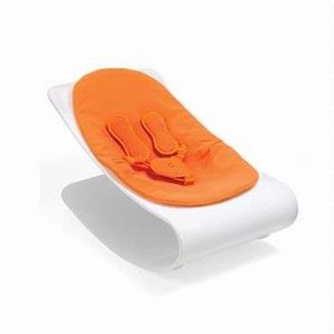 Coco Bloom Plexistyle White Frame Baby Lounger - Harvest Orange (Leatherette) Seat Pad