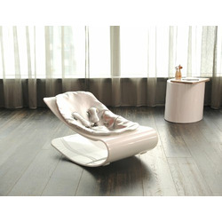 Coco Bloom Plexistyle White Frame Baby Lounger - Lunar Silver (Leatherette) Seat Pad