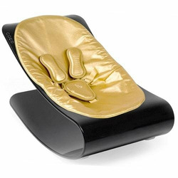 Coco Bloom Plexistyle Black Frame Baby Lounger - Solar Gold (Leatherette) Seat Pad