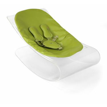 Coco Bloom Plexistyle Transparent Frame Baby Lounger - Gala Green (Leatherette) Seat Pad