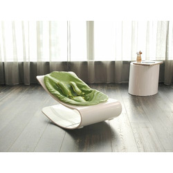 Coco Bloom Plexistyle White Frame Baby Lounger - Gala Green (Leatherette) Seat Pad