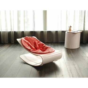 Coco Bloom Plexistyle White Frame Baby Lounger - Rock Red (Leatherette) Seat Pad