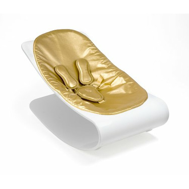 Coco Bloom Plexistyle White Frame Baby Lounger - Solar Gold (Leatherette) Seat Pad