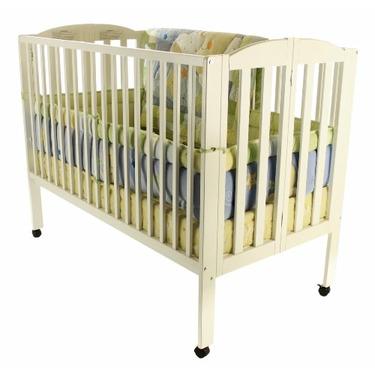Dream On Me Full Size 2 in 1 Folding Stationary Side Crib, White